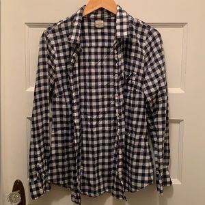 J. Crew button up shirt in navy and white gingham